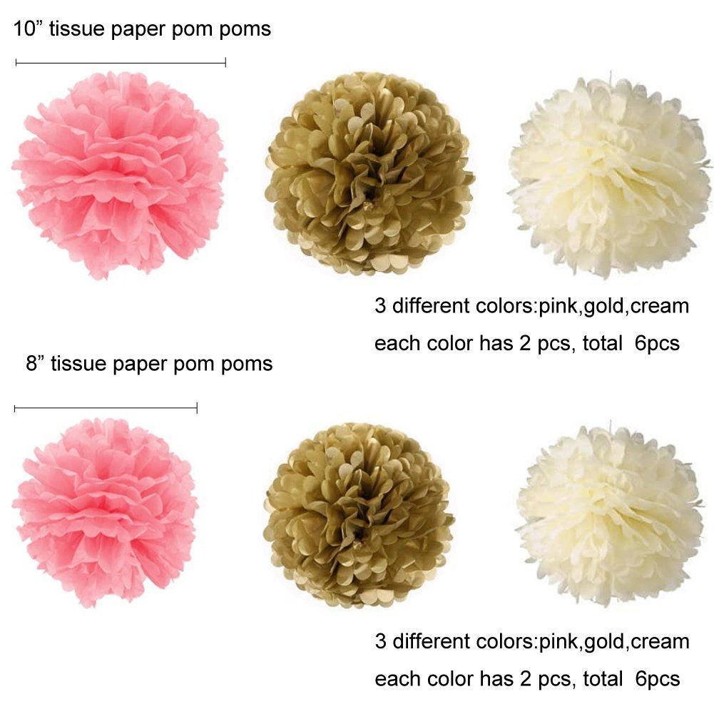 19 Pcs Pink And Gold Tissue Paper Flowers Pom Poms Lanterns And